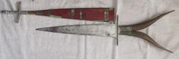 Art Africain Épée Manche Imitation  Corne De Bouc 79 Cm De Longueur Lame De 37,7 Cm - Art Africain