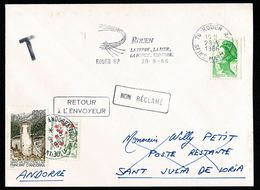 ANDORRE Rouen TVP A Vert 28-6-1986 Poste Restante ST JULIA Arrivée 1-10-86 Retour Impossible Taxe MIXTE Au Tarif 9-3-87 - Andorra Francese