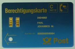 GERMANY - Early Demo - C Netz - Berechtigungskarte - Used - RARE - T-Series : Tests