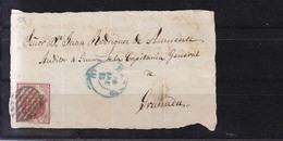 Año 1854 Edifil 33 Escudo Frontal Matasellos Rejilla Y Azul Madrid A Granada - Covers & Documents