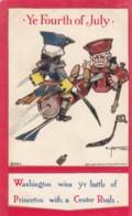Fourth Of July, US Independence Day, Washington Wins Battle Of Princeton Bunnell Artist Signed, C1900s Vintage Postcard - Holidays & Celebrations