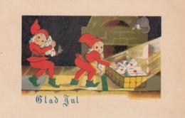 Glad Jul Merry Christmas, Elves Bring Presents Artist Image, C1920s/30s Vintage Postcard - Christmas