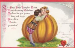 Valentine's Day, Pumpkin Tucks 'Little Nursery Lovers' #9, C1900s Vintage Postcard - Valentine's Day