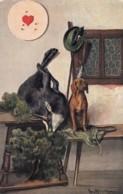 Artist Image Hunting Scene, Deer Dog Gun, 1900s Vintage Postcard - Illustrators & Photographers