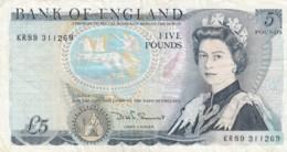 Great Britain #378c 5 Pound Very Fine (1980-87) Banknote - 1952-… : Elizabeth II