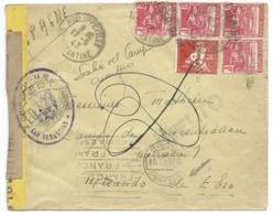 ENVELOPPE RECOMMANDEE / PHILIPPEVILLE ALGERIE POUR  MIRANDA DE EBRO ESPAGNE / 1943 / BANDE CENSURE - Lettres & Documents