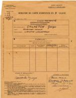 1944 // SNCF // Demande De Carte D'identitée // 3 E CLASSE - Chemin De Fer