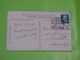 Hyères - Var - Daguin Hyères La Station La Plus Au Sud De La Côte D'Azur- 12/6/1926 - Marcophilie (Lettres)