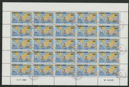 N°526 FEUILLE COMPLETE DE 25 EXEMPLAIRES COTE 37,50 EUROS DU 90 Fr HOMMAGE A JAMES COOK - Djibouti (1977-...)