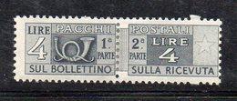 Q194A - REPUBBLICA 1946 , Pacchi Postali 4 Lire Ruota N. 71 * Linguella (M2200) - Pacchi Postali