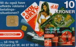 DENMARK DANMONT CHIP PHONECARD/COCA COLA 10 KR DB064-9/99-1000pcs -USED(MM) - Danemark