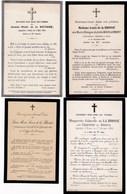 Lot De 4 FAIRE-PART DECES  -  Famille De La Brosse  -  Recto Verso  - - Décès