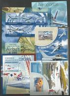 5 Pcs NIGER - MOZAMBIQUE -  MNH - Transport - Airplanes - 2013 - 2014 - Airplanes