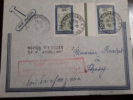 O) 1903 CIRCA - MALAGASY REPUBLIC- MADAGASCAR, TRANSPORTATION BY SEDAN CHAIR SURCHARGED,LEFTER TRANSPORT AIRMAIL, XF - Postzegels