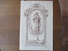PAROISSE St PIERRE DEVILLE 15 AOÛT 1918 SOUVENIR DU PAIN BENIT CAMILLE WYBO ROUEN IMP. DE LA VICOMTE 40cm/26cm - Religion & Esotericism