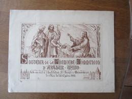 SOUVENIR DE LA PREMIERE COMMUNION D'ARTHUR WYBO FAITE EN EXIL LE 5 JUIN DE L'AN DE GUERRE 1918 CAMILLE WYBO 42cm/33cm - Religion & Esotérisme