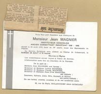 Faire-part Décès Golancourt (60) Jean Magnier Instituteur Ancien Combattant Résistant 1939-1945 - 3scans 23-08-1978 - Décès