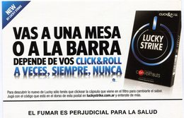 LUCKY STRIKE VAS A UNA MESA O A LA BARRA DEPENDE DE VOS CLICK&ROLL A VECES SIEMPRE NUNCA PUBLICIDAD - NTVG. - Publicidad