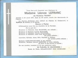 Faire-part Décès Golancourt (60) Mme Léonce Lefranc Née Madeleine Touret 2scans 28-04-1977 - Décès