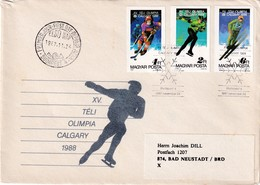 Hungary 1988 Cover; Olympic Games Carlary; Ice Hockey; Speed Skating; Ski Jumping; B Stamps - Hiver 1964: Innsbruck