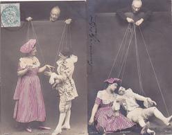 Lot De 2 Cpa -spect-theatre-marionnettes Humaine-pupazzi-S.I.P. N°842/1 Et 842/10 - Théâtre