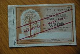 Rationnement - Bon Billet Matiere B 0,200 Bois - Documenti Storici