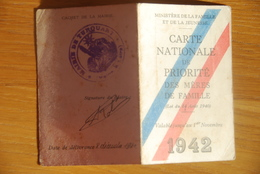 Rationnement - Carte Nationale De Priorite Des Meres De Famille Turquant Maine Et Loire - Historical Documents