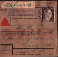 ! 1943 Nachnahme Paketkarte Deutsches Reich,  Leipzig, Zusammendrucke Hindenburg - Covers & Documents