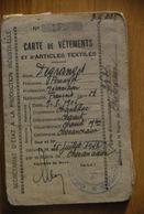 Rationnement - Carte De Vetements Chevanceaux Charente-maritime - Historische Dokumente