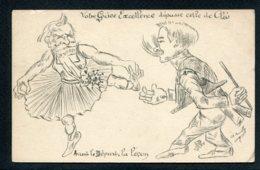 CPA POLITIQUE SATIRIQUE - Illustrateur A. Rouilly - Avant Le Départ. La Leçon - Caricature - Satirische