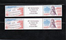 """Wallis & Futuna - 2 Triptyques PA """" 25e Anniversaire Statut Territoire D'outre Mer """" Avec Vignette Centrale (neuf) - Ungebraucht"""