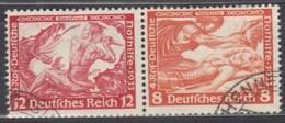 DR  W 55, Gestempelt, Nothilfe: Wagner 1933 - Se-Tenant