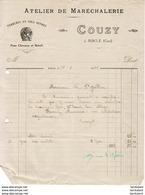 ATELIER DE MARECHALERIE COUZY A RISCLE    .......... FACTURE DE 1925 - Petits Métiers