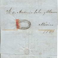 J) 1858 MEXICO, 4 REALES RED, BISECT, VERTICAL SEAL, COMPLETE LETTER, CIRCULATED COVER, FROM MEXICO TO GUANAJUATO - Mexico