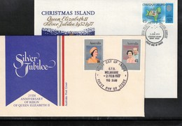 Australia + Christmas Island 1977 Queen Elisabeth II Silver Jubilee FDC - Emissions Communes