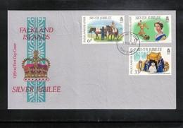 Falkland Islands 1977 Queen Elisabeth II Silver Jubilee FDC - Emissions Communes