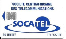 CARTE-PUCE-CENTRE AFRIQUE-60U-SC7-SOCATEL-BLEU-V°TARIFS REDUITS-N°Rge 00376994 En Haut A Gauche-TBE - República Centroafricana