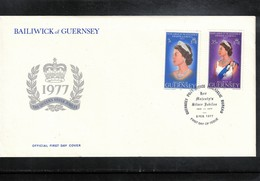 Guernsey + Canada 1977 Queen Elisabeth II Silver Jubilee FDC - Emissions Communes