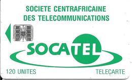 CARTE-PUCE-CENTRE AFRIQUE-120U-SC7-SOCATEL-BLEU-V°TARIFS REDUITS-N°Rge 00391504 En Haut A Gauche-TBE - República Centroafricana