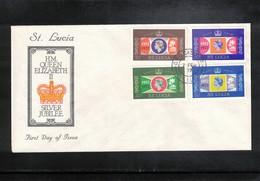 St. Lucia 1977 Queen Elisabeth II Silver Jubilee FDC - Emissions Communes