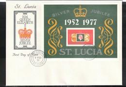 St. Lucia 1977 Queen Elisabeth II Silver Jubilee Block FDC - Emissions Communes