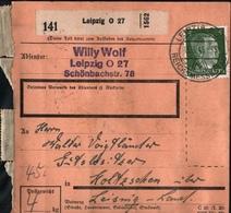 ! 1943 Paketkarte Deutsches Reich,  Leipzig Nach Koltzschen, Zusammendrucke - Covers & Documents