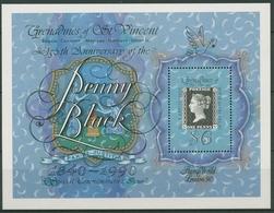 St. Vincent-Grenadinen 1990 STAMP WORLD Black Penny Block 51 Postfrisch (C94496) - St.-Vincent En De Grenadines