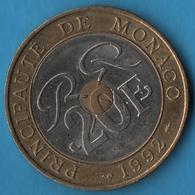 MONACO 20 FRANCS 1992 KM# 165 Trimétallique PALAIS PRINCIER - Monaco