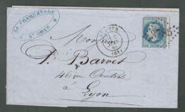 """Oblit. () Cachet Losange Gros Chiffres """"3785"""" """"St-Omer"""" Sur Napoléon Lauré 20c Bleu - 2 Juin 1869 - 1849-1876: Classic Period"""