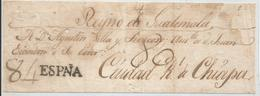 J) 1805 MEXICO, FRONT OF LETTER, FROM SPAIN TO CIUDAD REAL DE CHIAPAS (KINGDOM OF GUATEMALA) BRAND SPAIN IN NEFRO PRINTE - Mexico