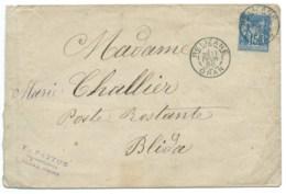15c SAGE SUR ENVELOPPE / RELIZANNE ORAN ALGERIE POUR BLIDAH / 1888 - Storia Postale