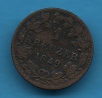 WÜRTTEMBERG KÖNIGREICH 1 KREUZER 1849 KM# 590 Wilhelm I  Silver (.250) - [ 1] …-1871 : German States