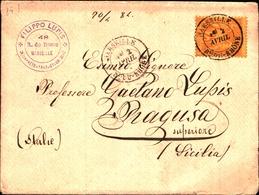92727) FRANCIA LETTERA CON 25C. SAGE N. 92 DA MARSIGLIA A RAGUSA IL 2-4-1884 - 1876-1898 Sage (Tipo II)