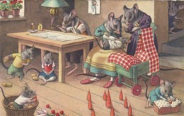Mainzer Image Mice Dressed As People, Family Scene C1950s Vintage Swiss Postcard - Altre Illustrazioni